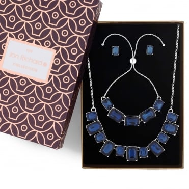 Blue crystal square jewellery set