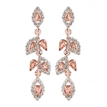 Blush pink crystal floral earring