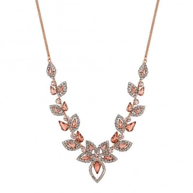 Blush pink crystal floral necklace