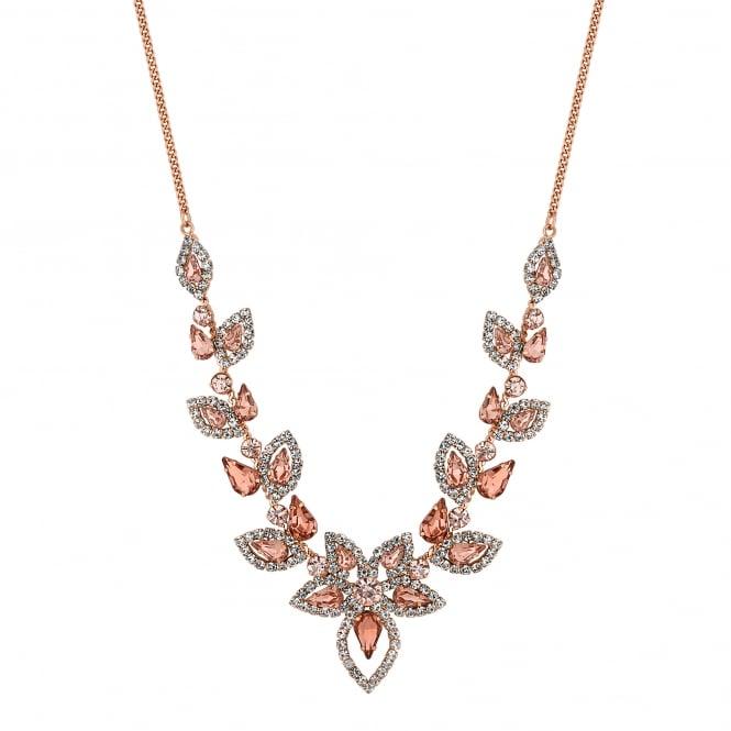 Blush pink crystal floral necklace
