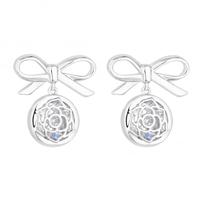Jon Richard Bow and floral droplet stud earring