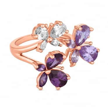 Rose Gold Plated Purple Butterfly Cluster Ring