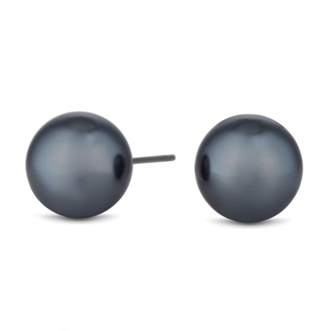 Charcoal Grey Pearl Stud Earring