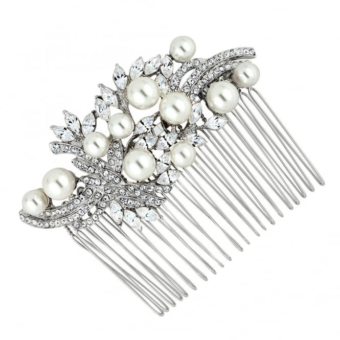 Charlotte navette stone and crystal swirl multi pearl comb
