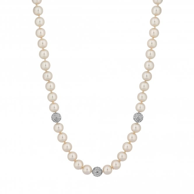 Cream Pearl Necklace With Pave Balls