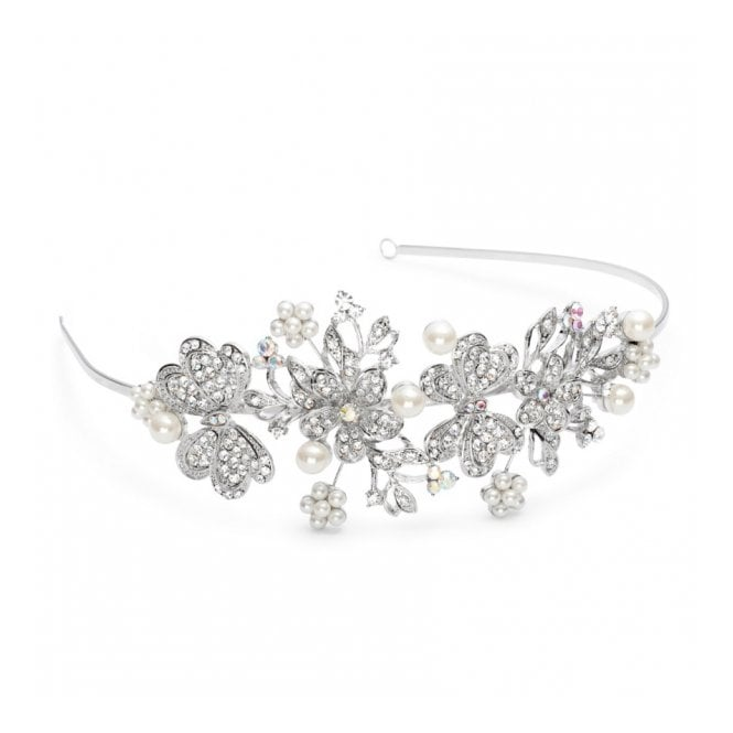 Crystal Butterfly And Pearl Flower Statement Headband
