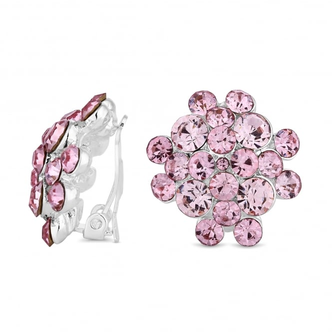 Jon Richard Silver Plated Pink Crystal Cluster Clip On Earring