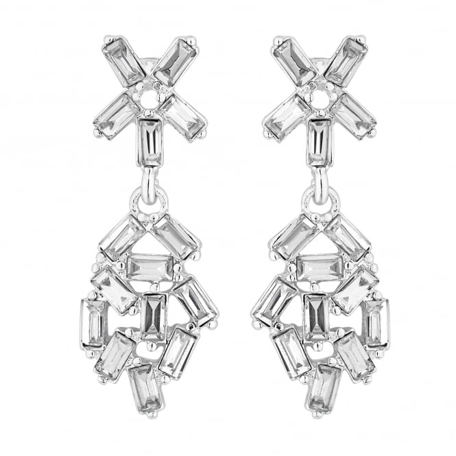 Crystal cluster drop earring
