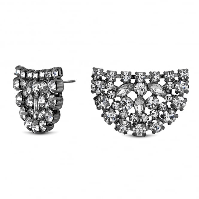 Jon Richard Crystal cluster half circle earring