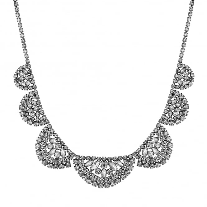 Crystal cluster half circle necklace