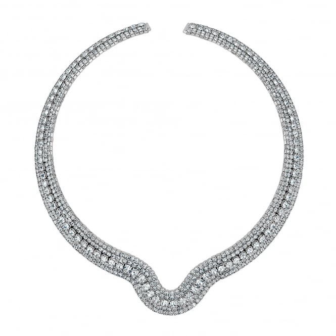 Silver Plated Crystal Diamante Collar Necklace