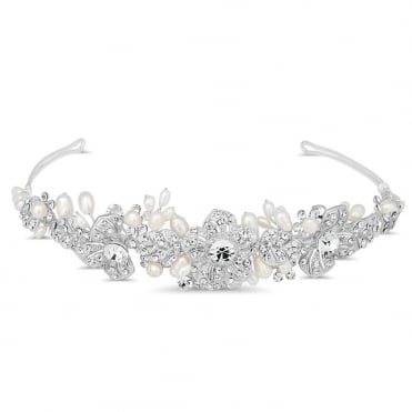 Crystal embellished floral and pearl spray tiara
