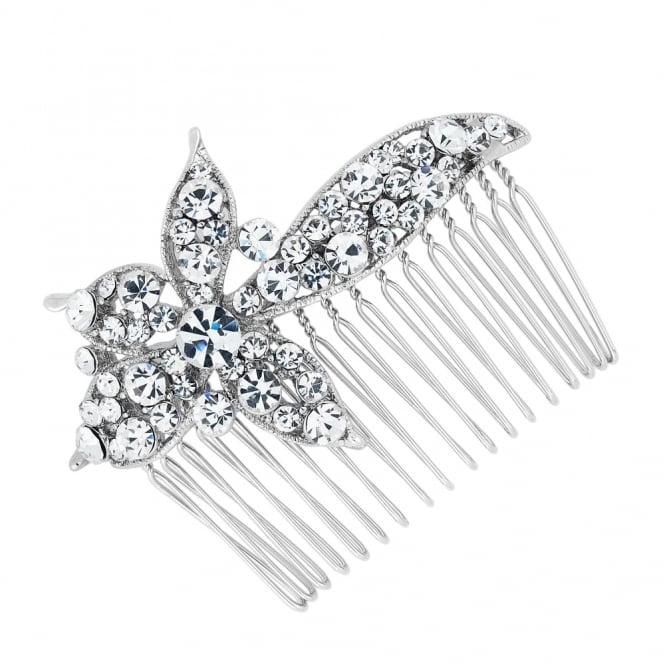 Crystal embellished flower hair comb