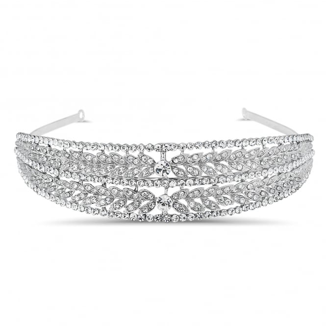 Crystal embellished leaf double row headband