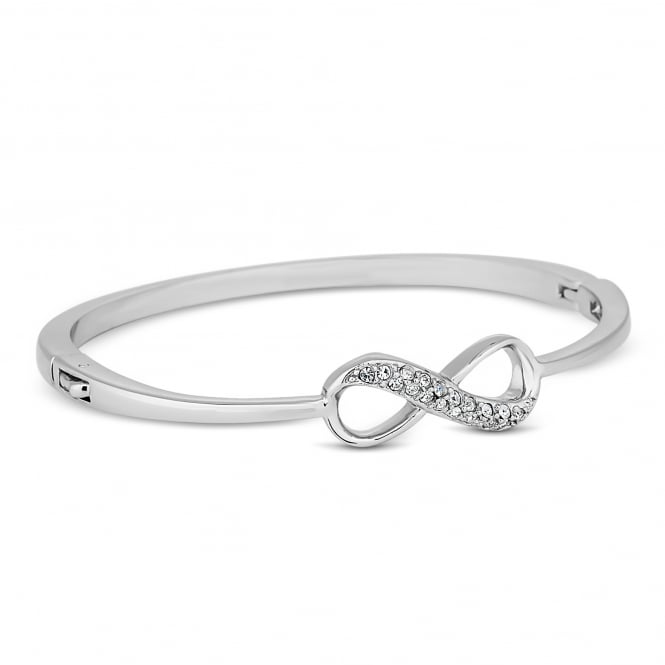 Crystal embellished silver twist fine bangle