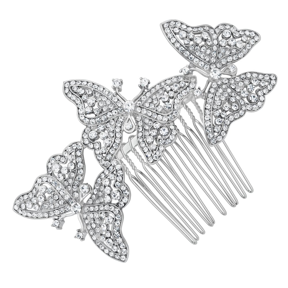 Butterfly hair accessories for weddings uk - Crystal Embellished Triple Butterfly Hair Comb