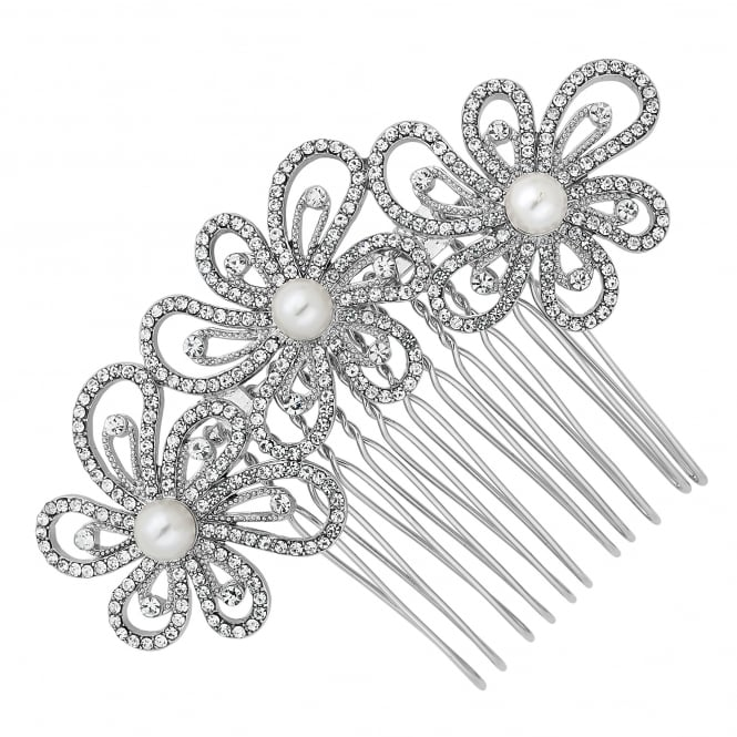 Crystal embellished triple flower hair comb