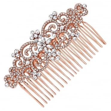 Crystal filigree floral hair comb