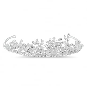Crystal floral and facet bead spray tiara