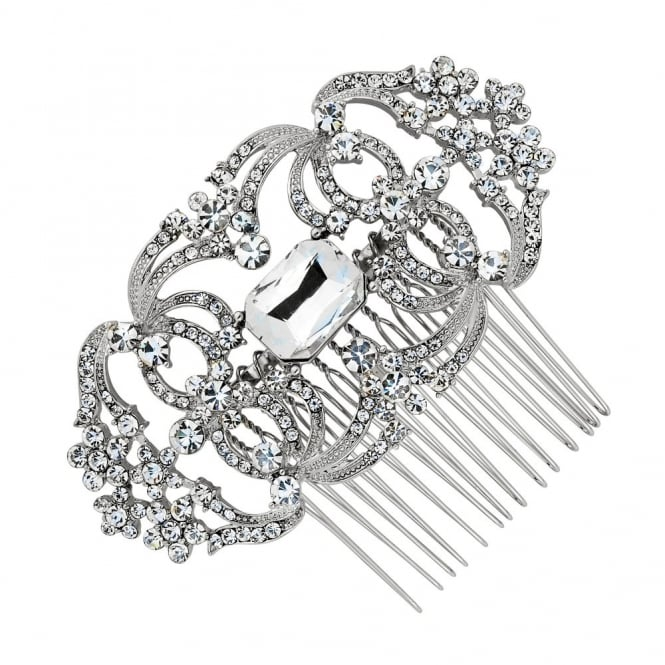 Crystal flower and loop effect hair comb