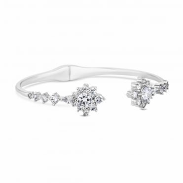 Silver Plated Crystal Halo Cuff Bangle