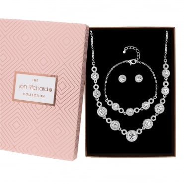 Crystal halo jewellery set in a gift box