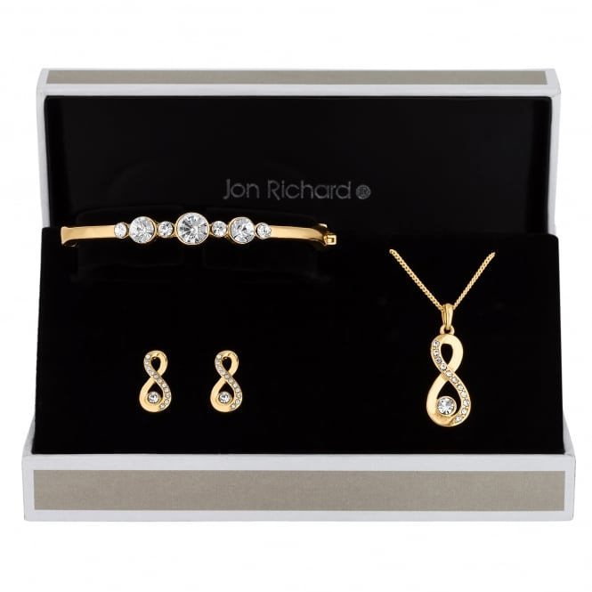 Jon Richard Gold Plated Crystal Infinity Trio Jewellery Set In A Gift Box