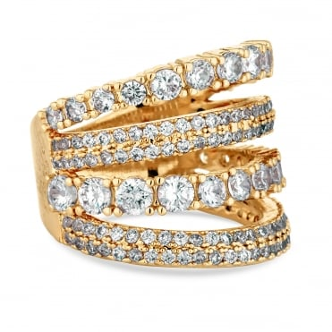Gold Plated Cubic Zirconia Multi Row Ring