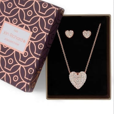 Crystal pave heart jewellery set in a gift box
