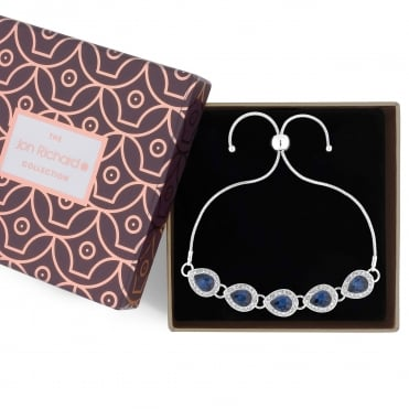 Crystal peardrop toggle bracelet in a gift box
