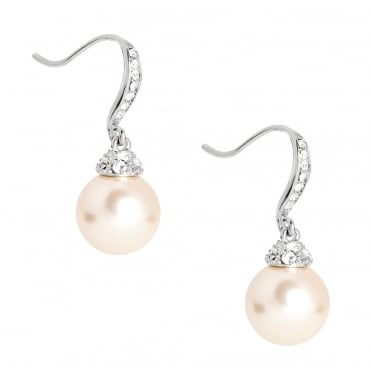 Crystal Stick And Cap Pearl Drop Earring