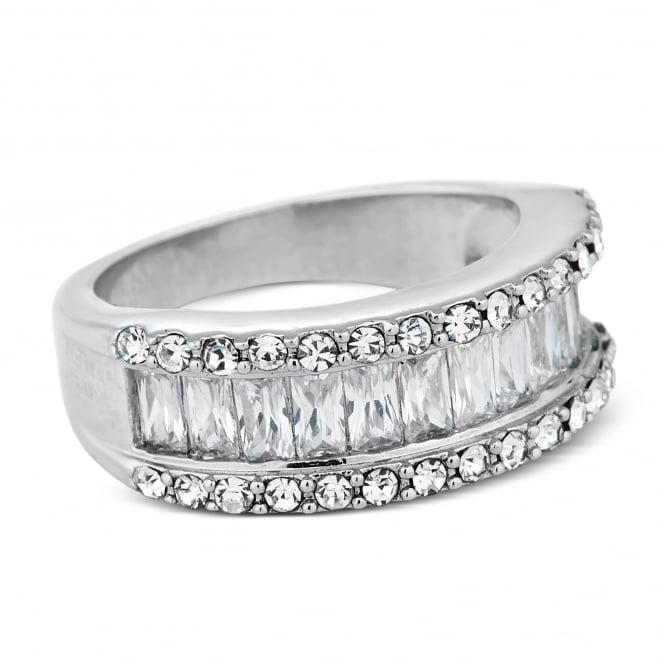 Cubic zirconia baguette stone encased ring