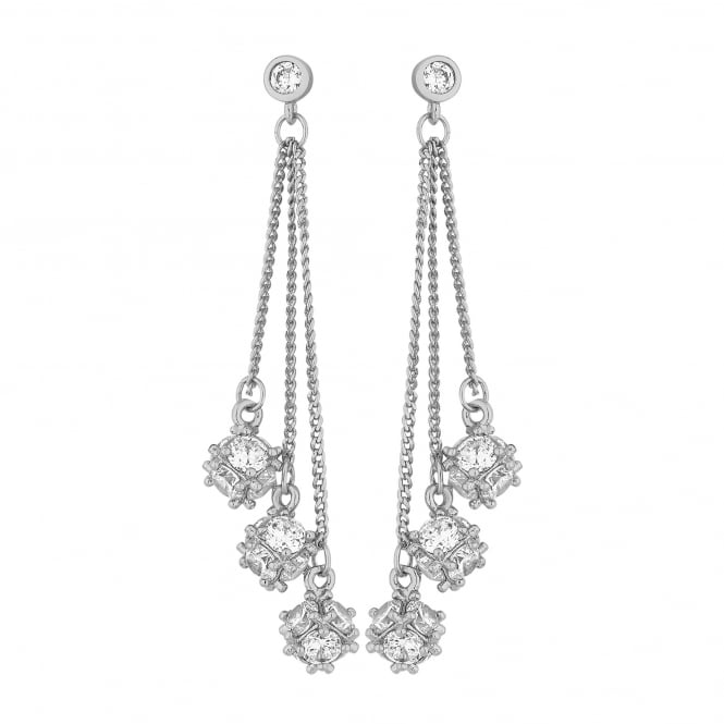 Jon Richard Silver Plated Cubic Zirconia Chain Drop Earring