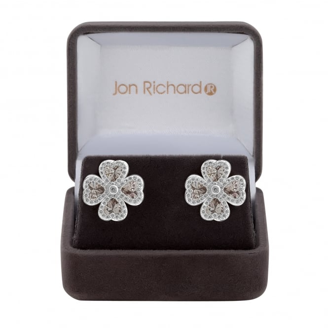 Jon Richard Cubic zirconia clover leaf earring