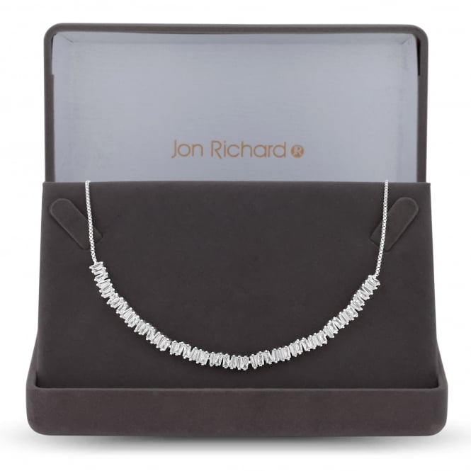 Jon Richard Cubic zirconia cluster toggle choker necklace