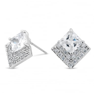 Cubic zirconia crystal embellished square stud earring