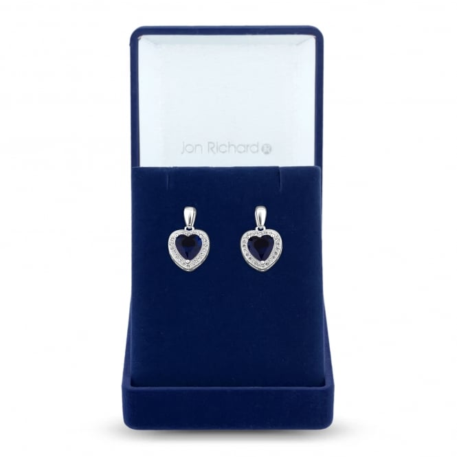 Jon Richard Silver Plated Blue Cubic Zirconia Heart Halo Earring In A Gift Box