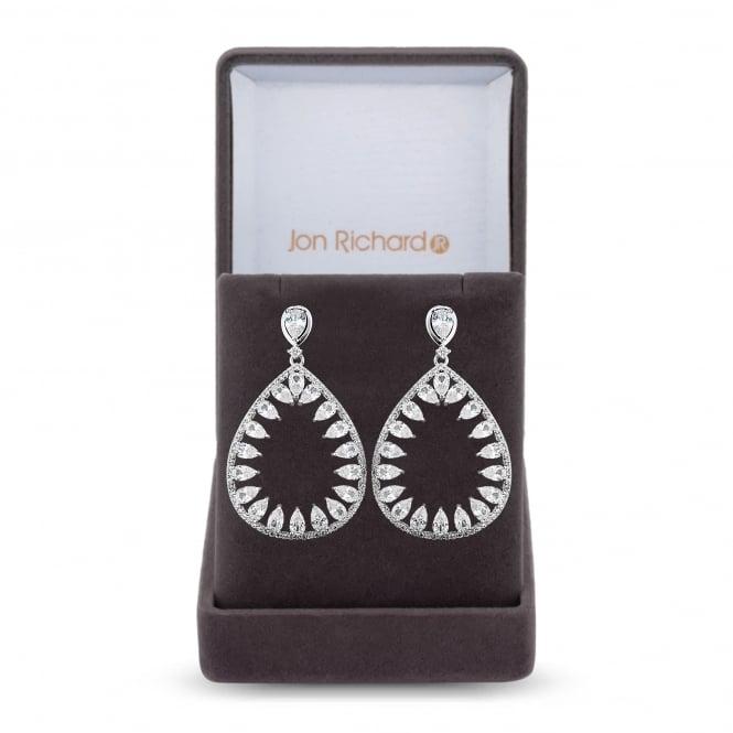 Cubic zirconia open peardrop earring