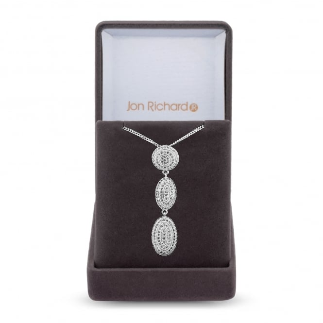 Jon Richard Cubic zirconia pave drop necklace