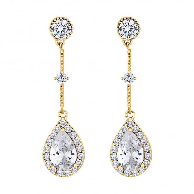 Jon Richard Gold Plated Cubic Zirconia Peardrop Drop Earring