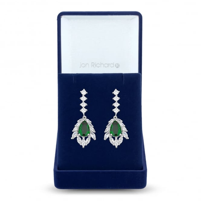 Jon Richard Silver Plated Green Cubic Zirconia Statement Drop Earring In A Gift Box