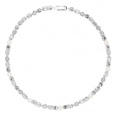 Designer silver graduated crystal and pearl necklace