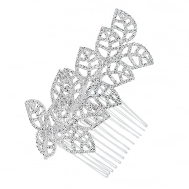 Diamante crystal embellished leaf hair comb