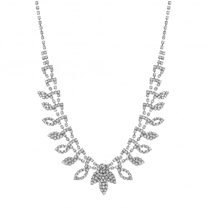 Diamante crystal leaf necklace