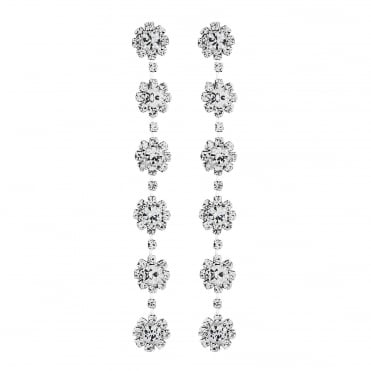 Diamante floral drop earring