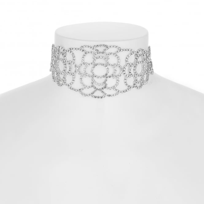 Diamante lace choker necklace