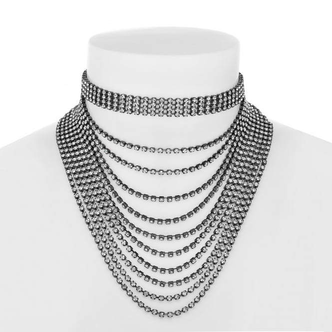 Diamante multi chain drop choker