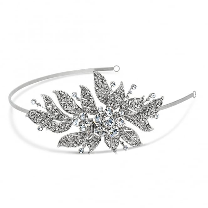 Evelyn vintage crystal leaf headband