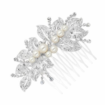 Filigree crystal leaf and pearl hair comb