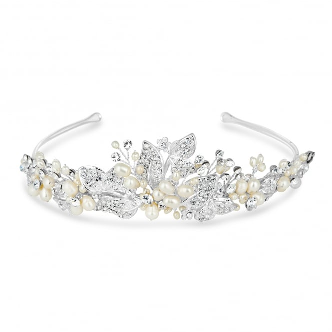 Jon Richard Freshwater pearl and crystal leaf hand wrapped tiara